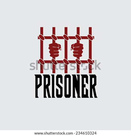 prisoner hands behind bars vector design template - stock vector