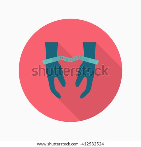 Prisoner icon, Vector flat long shadow design. EPS10 - stock vector