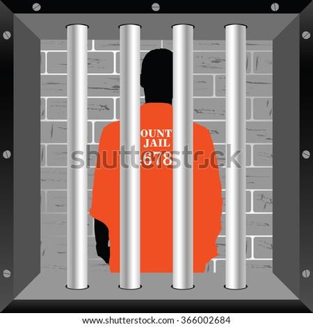 prisoner in cell illustration in colorful - stock vector