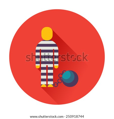 prisoner with ball on chain icon - stock vector