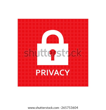 privacy red square icon. eps 10. - stock vector