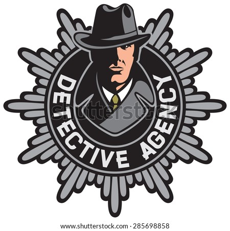 private agency detective label (private detective agency symbol) - stock vector