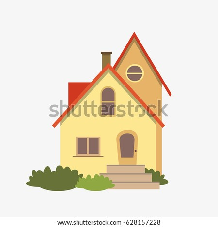 Private building, modern house isolated on white flat style vector illustration. EPS10.