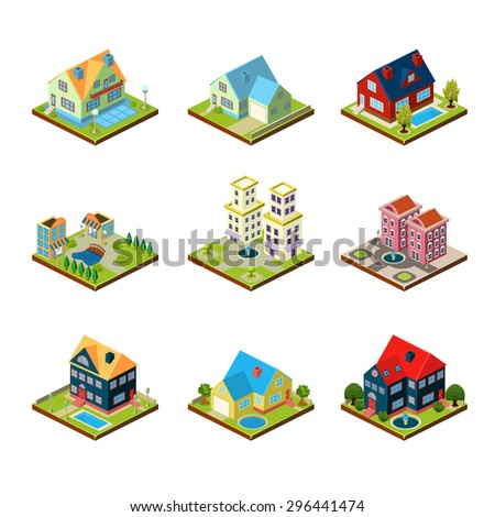 Private house real estate decorative 3d isometric isolated vector illustration - stock vector