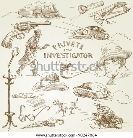 private investigator - hand drawn collection - stock vector