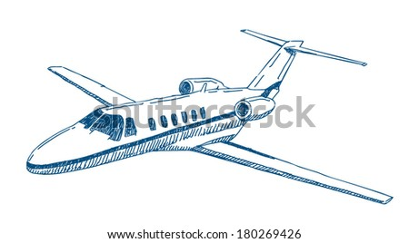 private jet airplane vector drawing isolated on white background