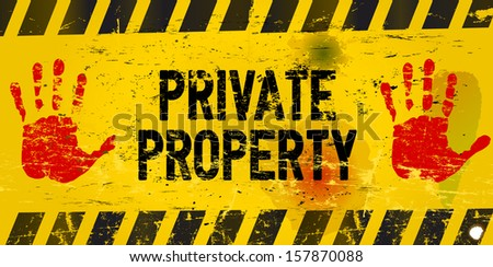 private property, warning sign - stock vector
