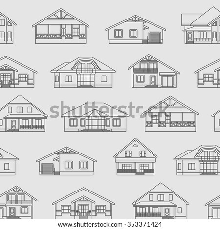 Private residential houses seamless vector pattern. - stock vector