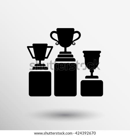 Prize podium winner icon logo champion infographic. - stock vector