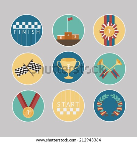 Prizes and Awards  vector icons set - stock vector