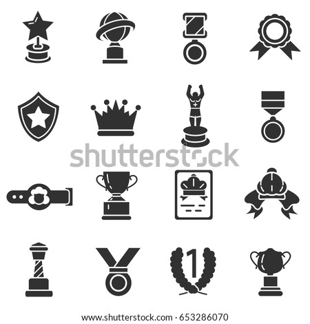 Prizes And Trophy Monochrome Icons Set Reward Simple Symbols Collection