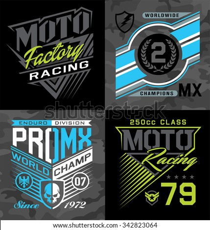 Pro motocross racing emblem graphic set - stock vector