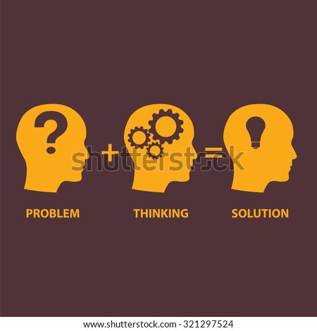 Problem solution concept showing problems solving using brain by thinking and creativity.  - stock vector