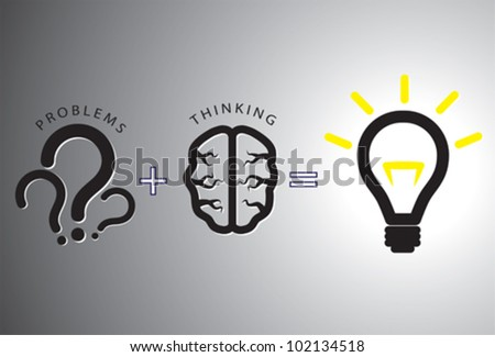 Problem solution concept showing problems solving using brain by thinking and creativity. Question marks are representative of problems while glowing bulb is representative of solution. - stock vector