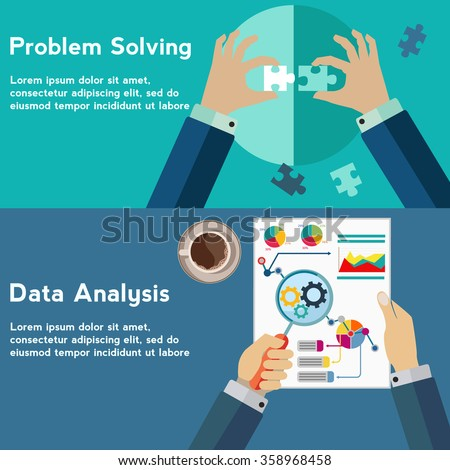 Problem solving and data analysis vector concept - stock vector
