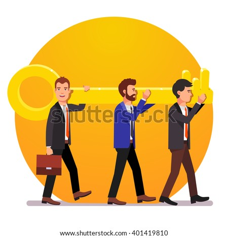 Problem solving team of business man with a key solution concept. Flat style vector illustration. - stock vector