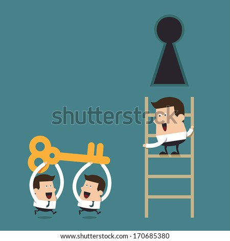 Problem solving through teamwork, Business concept - stock vector