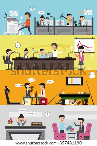 Problems and disasters in bad business company for each department such as office employee working section, meeting room, lazy leisure relaxing room, and reception for visitor banner (cartoon vector)  - stock vector