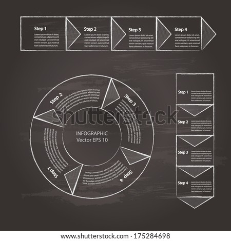 Process chart module, drawn on chalkboard background. Vector illustration. - stock vector