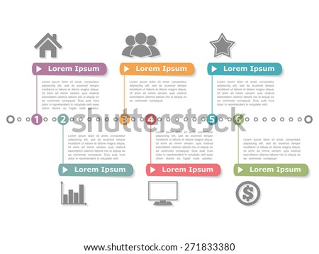 Process diagram template, vector eps10 illustration - stock vector