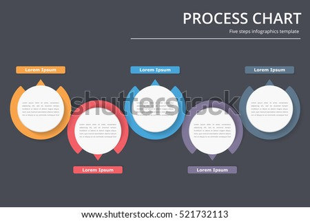 Process diagram template with circles, flowchart or workflow with five elements, steps or options, business infographics, vector eps10 illustration