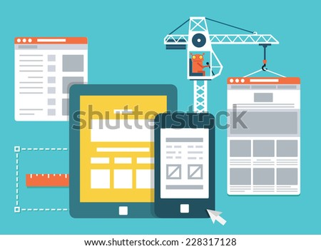 Process of creating site. Development skeleton framework of a website - vector illustration - stock vector