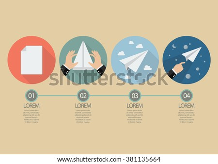 Process of hand folding the rocket paper. Infographic vector illustration - stock vector