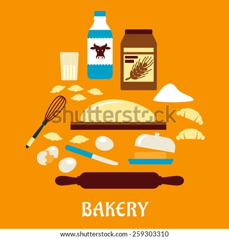 Process of kneading dough in flat style with icons of dough, milk, butter, eggs, flour and kitchen utensils - stock vector