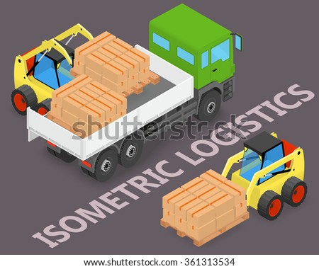 Process of loading and unloading the trucks with a forklift - isometric illustration - stock vector