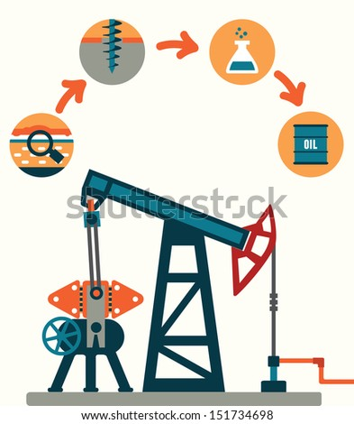 Process of oil production - vector illustration - stock vector