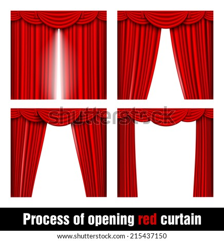 process of opening red curtain - stock vector