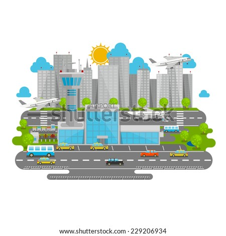 Processes airport. Vector illustration - stock vector
