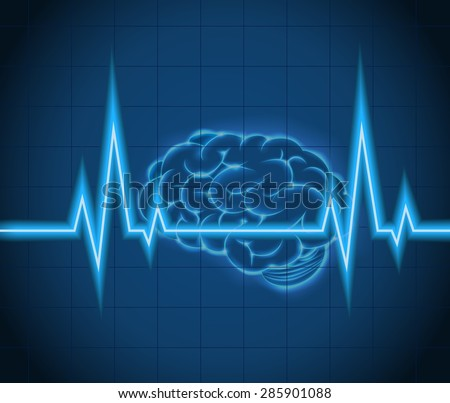 Processes  brain of waves the concept idea creative. vector - stock vector