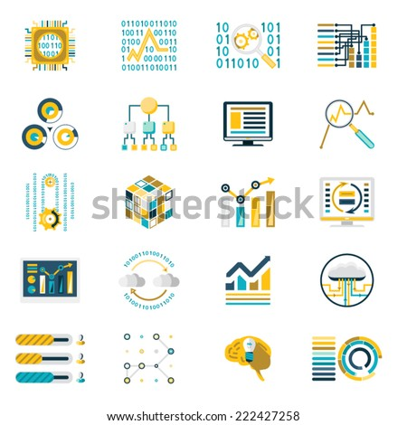 Processing Storage of Large Data Volume Icons Modern Flat Design Template Vector Illustration - stock vector