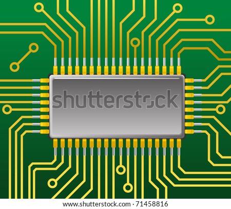 Processor on mainboard - stock vector