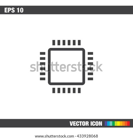 Processor sign line vector icon. PC CPU symbol. Computer chip sign icon. - stock vector