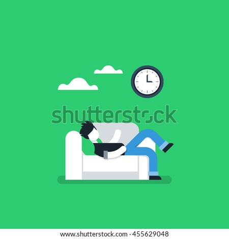 Procrastination concept, lazy man on sofa, couch potato, tired person, lying down on back, passive time spending - stock vector