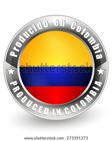 Produced in Colombia label. Vector icon.