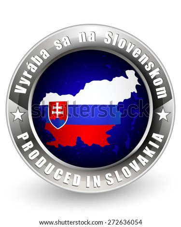 Produced in Slovakia label with a Produced in Slovakia map. Vector icon.