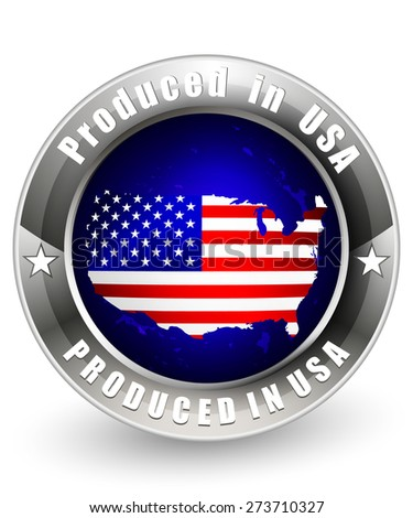 Produced in USA with USA map. Vector icon.