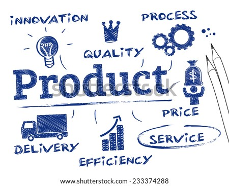 Product concept. Chart with keywords and icons - stock vector