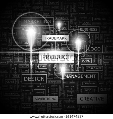 PRODUCT. Concept illustration. Graphic tag collection. Wordcloud collage. Vector illustration.