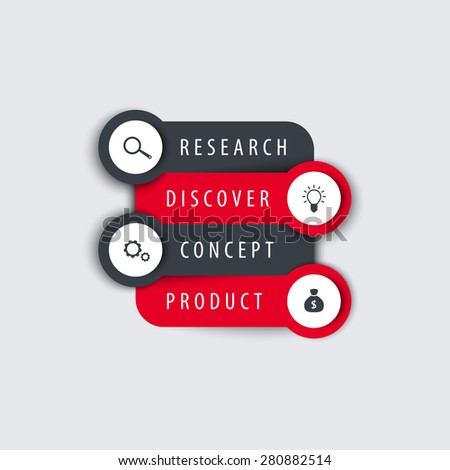 Product development, info graphic elements, timeline, step labels with icons, vector illustration, eps10, easy to edit - stock vector