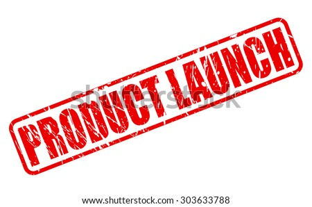 PRODUCT LAUNCH red stamp text on white - stock vector