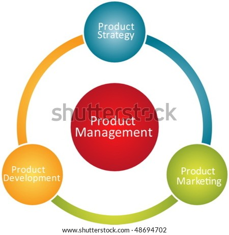 Product management marketing development business strategy concept diagram vector - stock vector