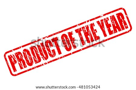 PRODUCT OF THE YEAR red stamp text on white