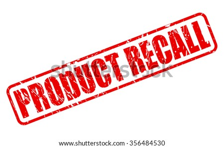 PRODUCT RECALL red stamp text on white - stock vector