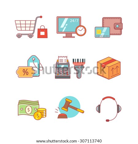 Product retail business, internet commerce and shopping thin line icons set. Modern flat style symbols isolated on white for infographics or web use. - stock vector