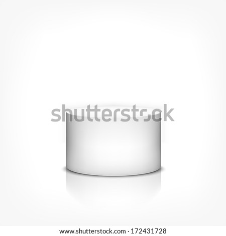 Product stand 3d cylinder on white background with reflection - stock vector
