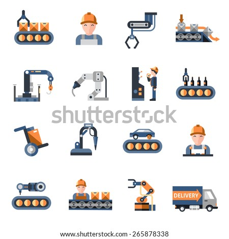 Production line industrial factory manufacturing process icons set isolated vector illustration - stock vector